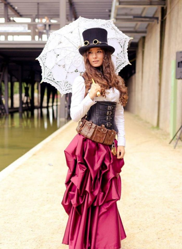 steampunk-ropa-de-moda-impresionante-falda-roja
