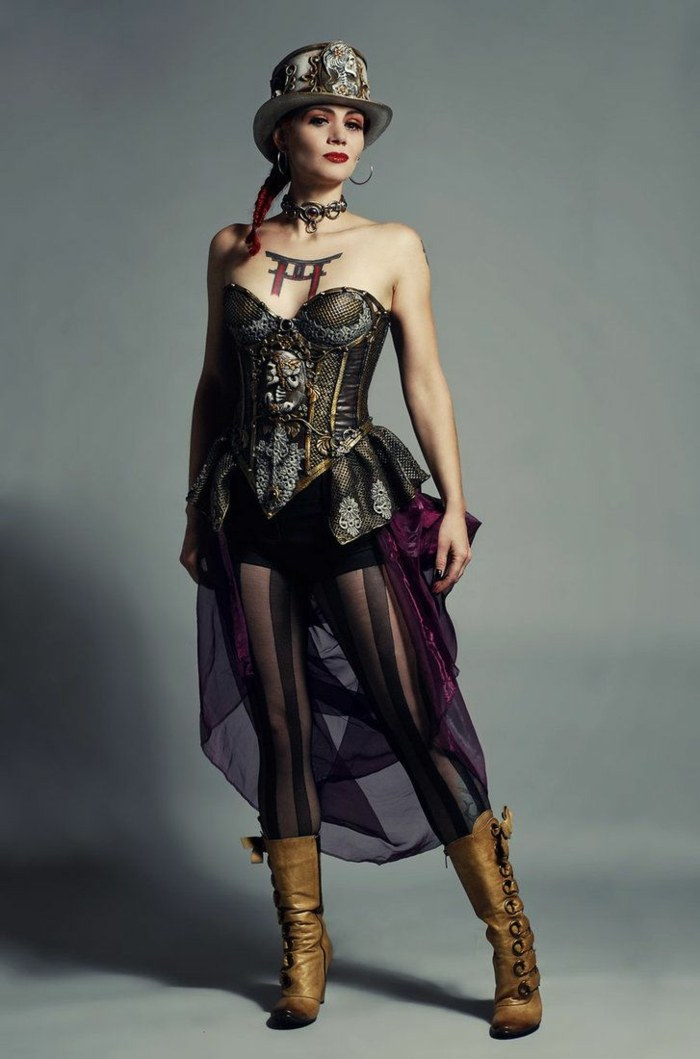 steampunk-ropa-de-moda-impresionante-falda-transparente