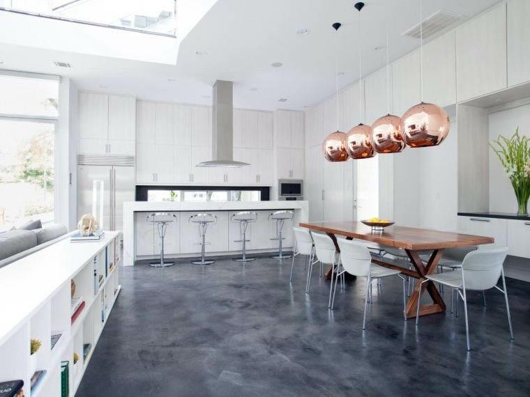 suelo de cocina de hormigón pulido