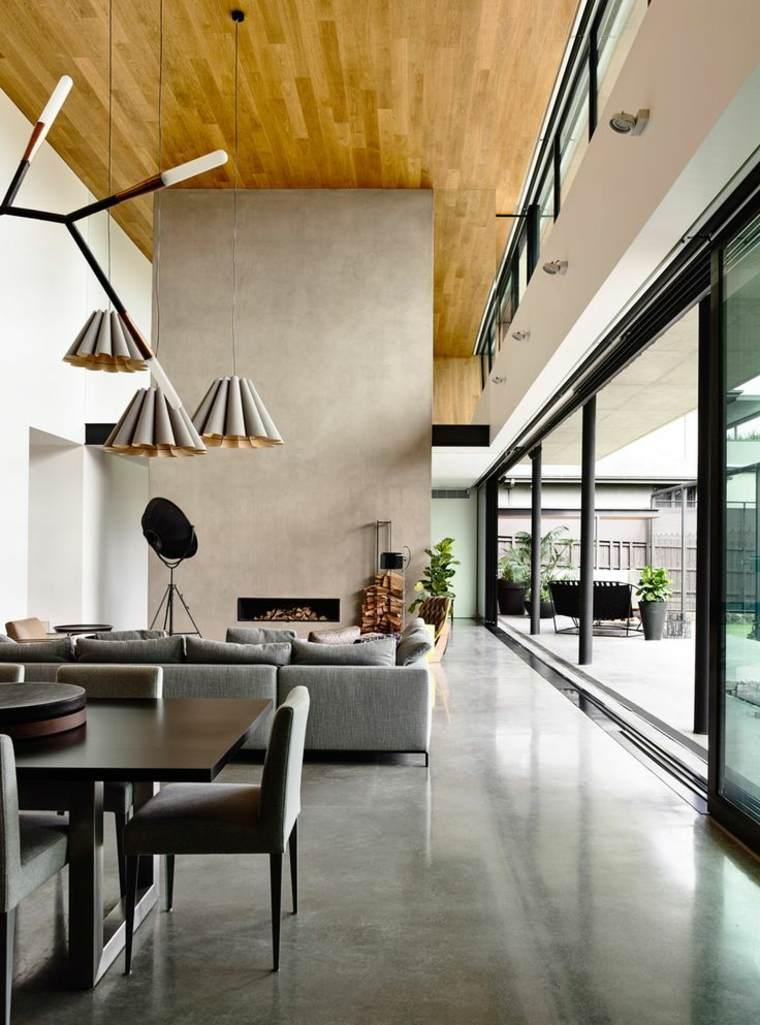 diseños de interiores con suelos de concreto