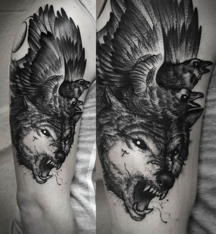 tatuaje-lobo-pajaro-opciones-disenos
