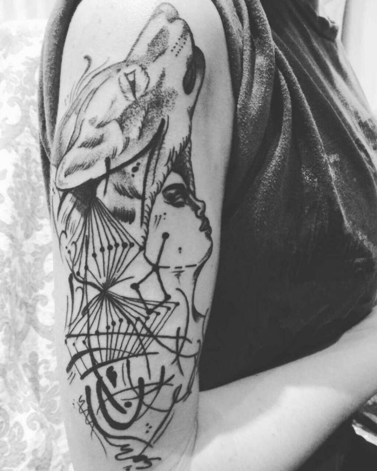 tatuajes de lobos-brazo-lobo-mujer