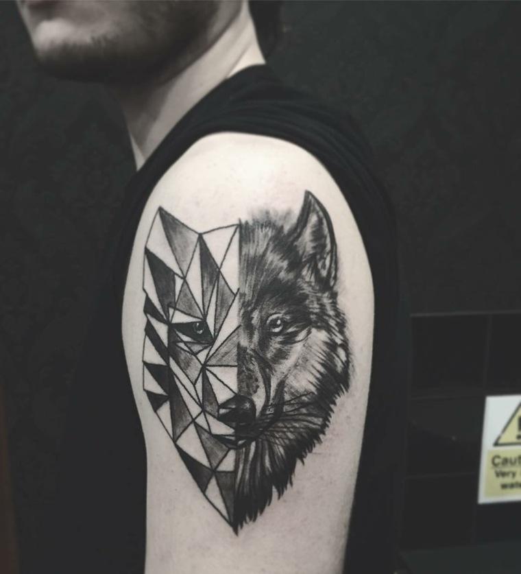 tatuajes de lobos-color-diseno-geometrico-combinacion