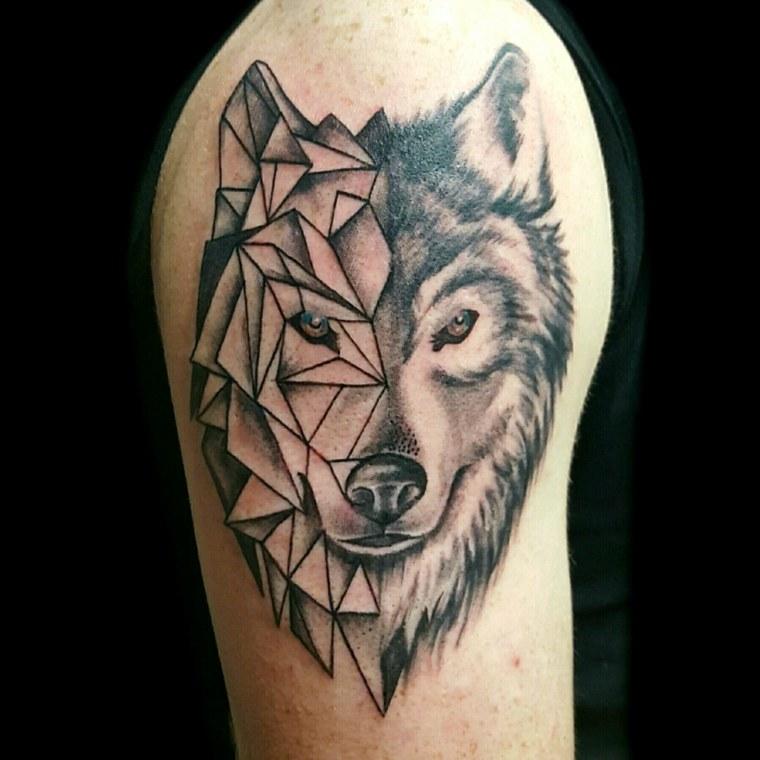 tatuajes de lobos-color-diseno-geometrico