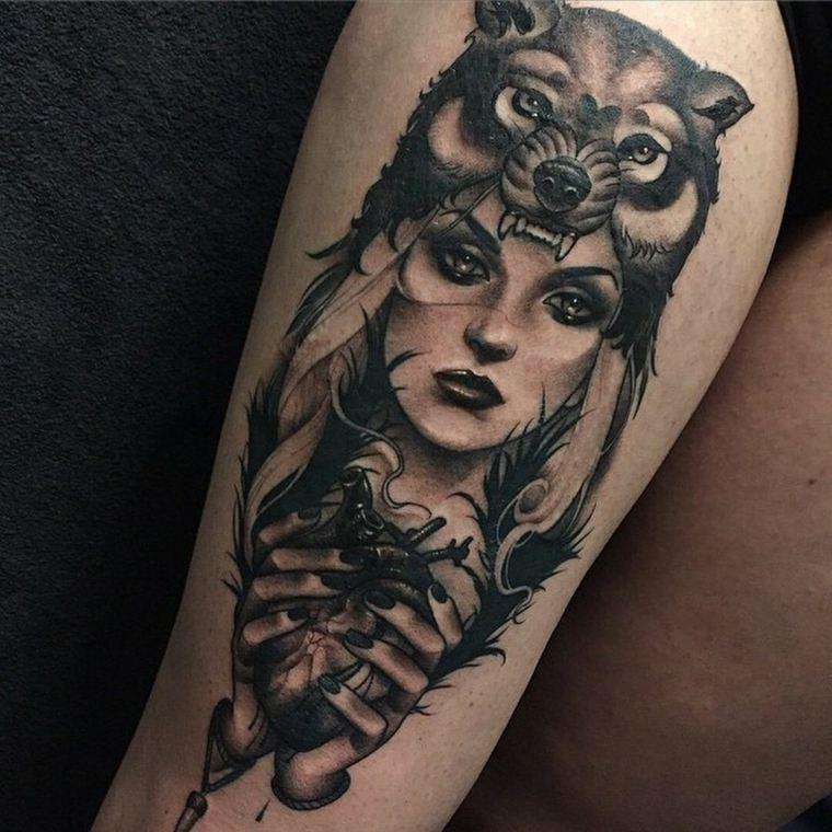tatuajes de lobos-color-diseno-mujer-lobo