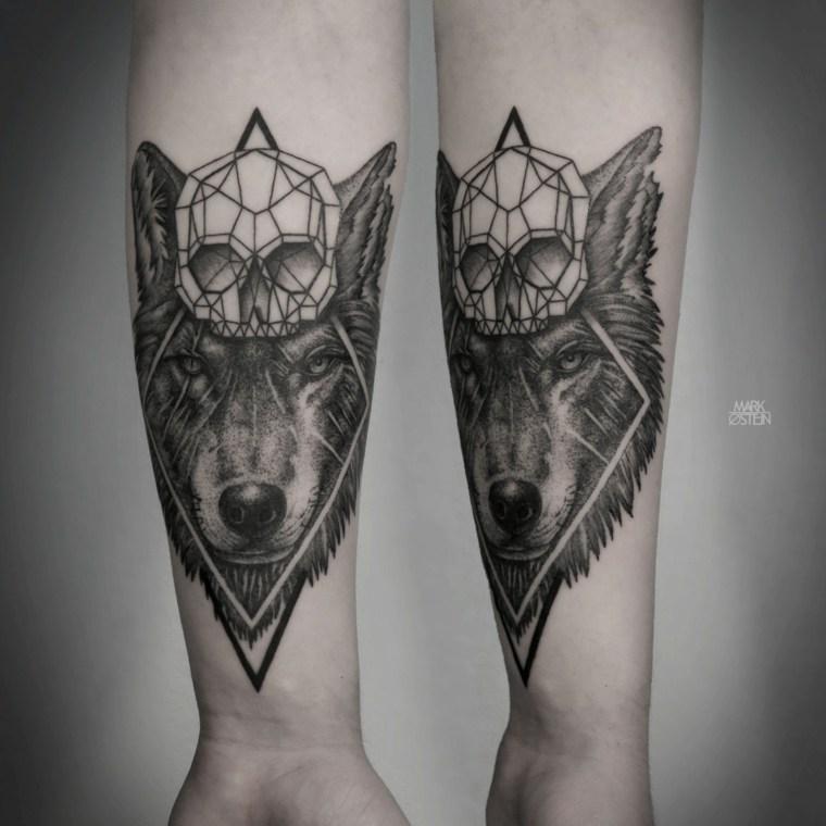tatuajes de lobos-craneo-geometrico-diseno