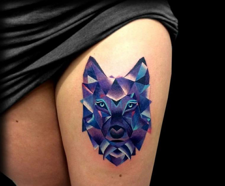 tatuajes-de-lobos-geometrico-color-azul