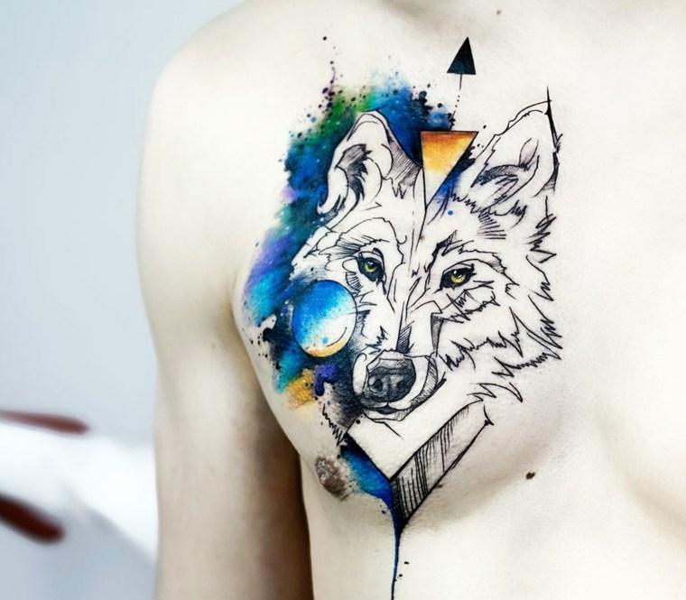 tatuajes-de-lobos-pecho-acuarela-diseno
