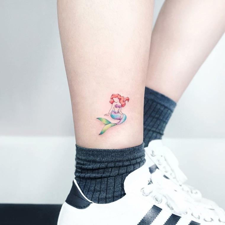 tatuajes-elegantes-mujeres-sirena-ariel-pie