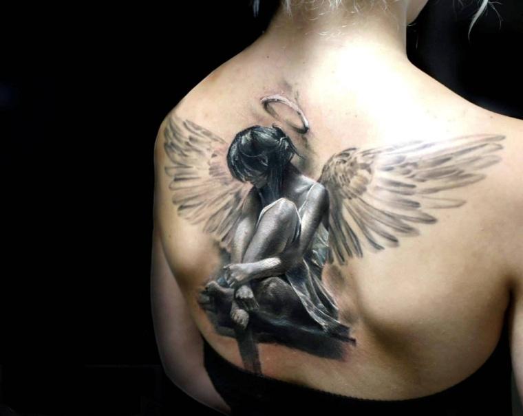 tatuajes-en-3D-angel-delicado-estilo-espalda
