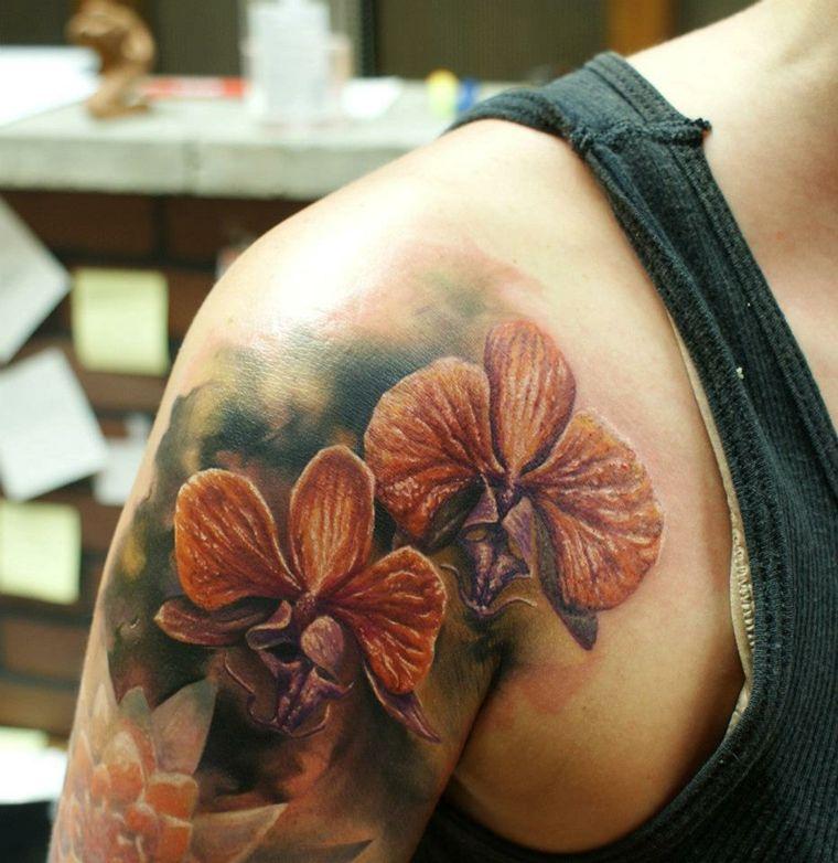 tatuajes-en-3D-flores-bellas-hombro