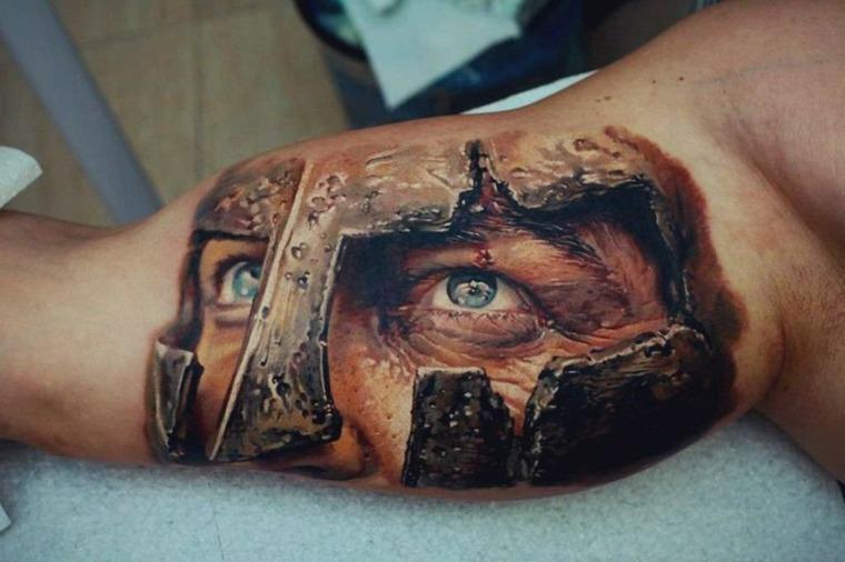 tatuajes-en-3D-mirada-guerrero