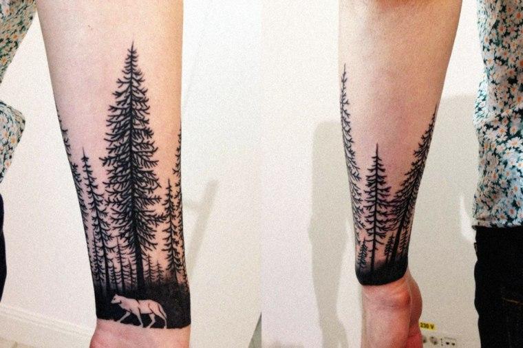 tatuajes en el antebrazo diseno-moderno-bosque
