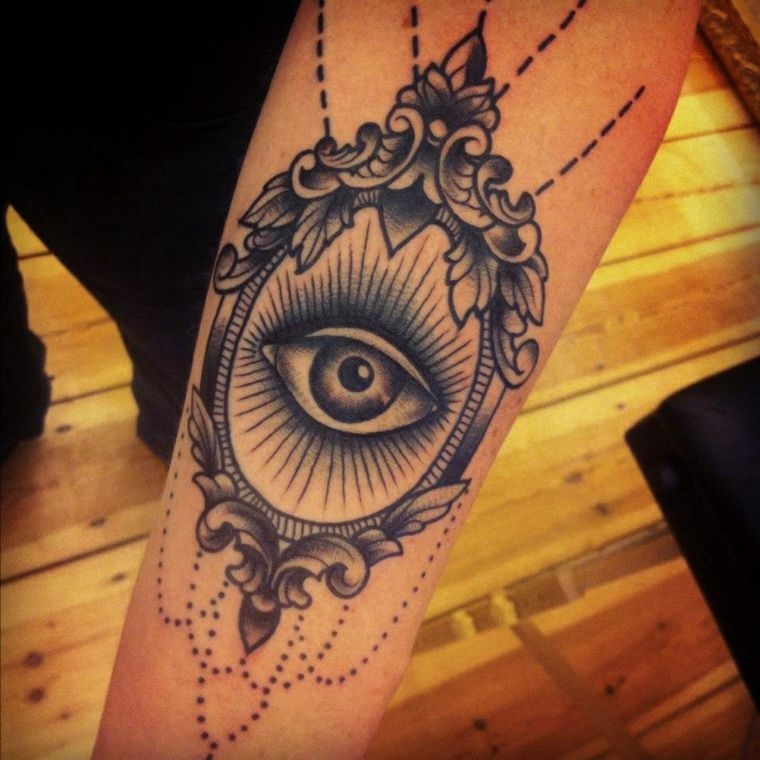 tatuajes en el antebrazo-diseno-moderno-ojo-mujer-opciones