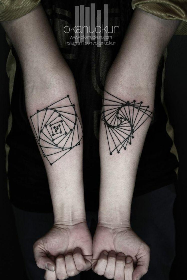 tatuajes espirales geometricas finas