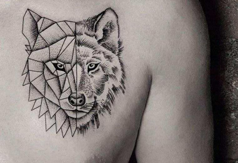 tatuajes-para-hombres-diseno-geometrico-lobo