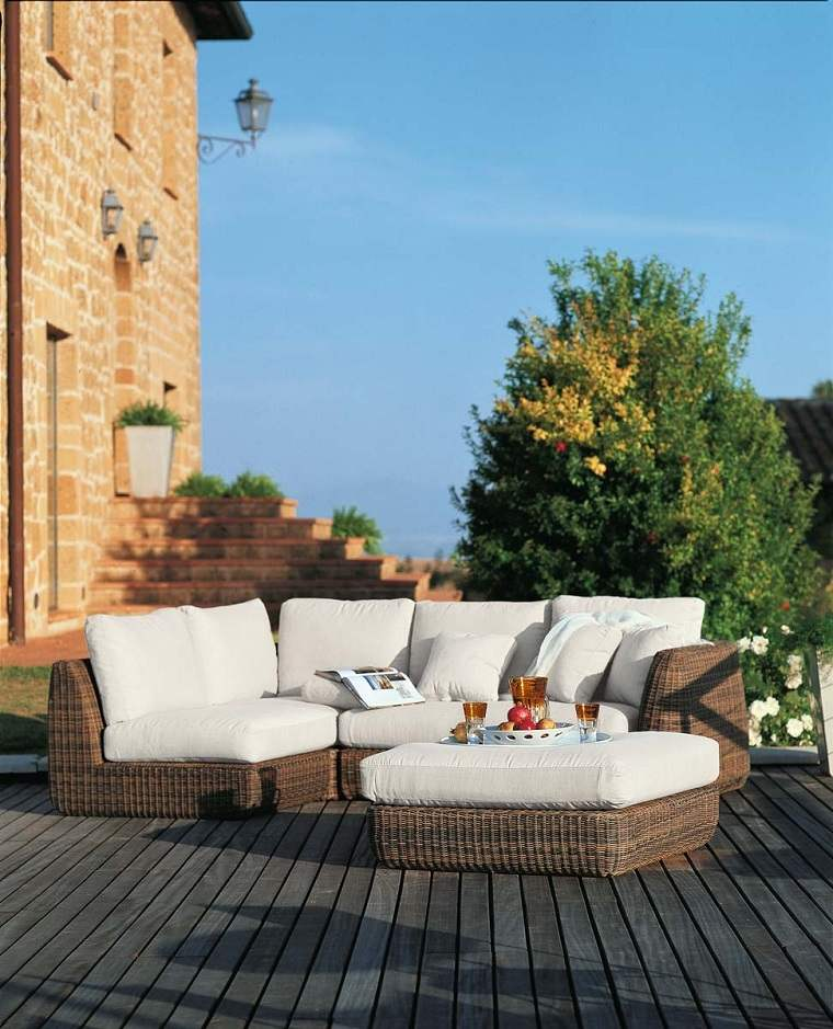 terrazas modernas-sofas-rattan-opciones