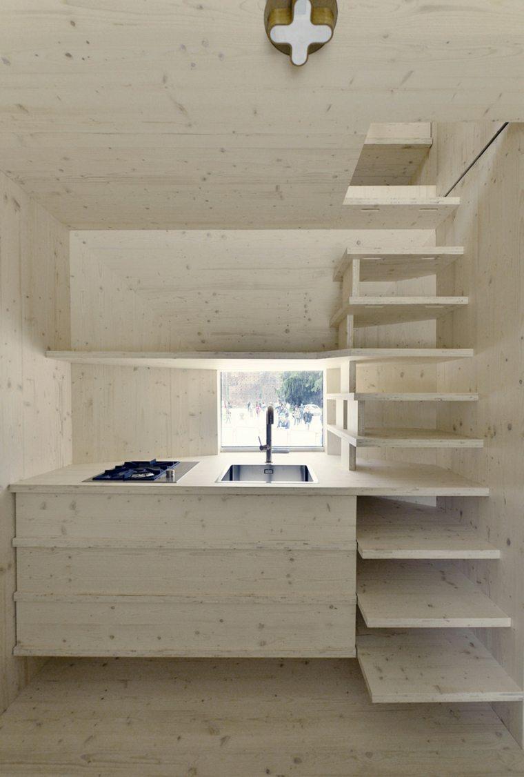 zona cocina moderna escaleras