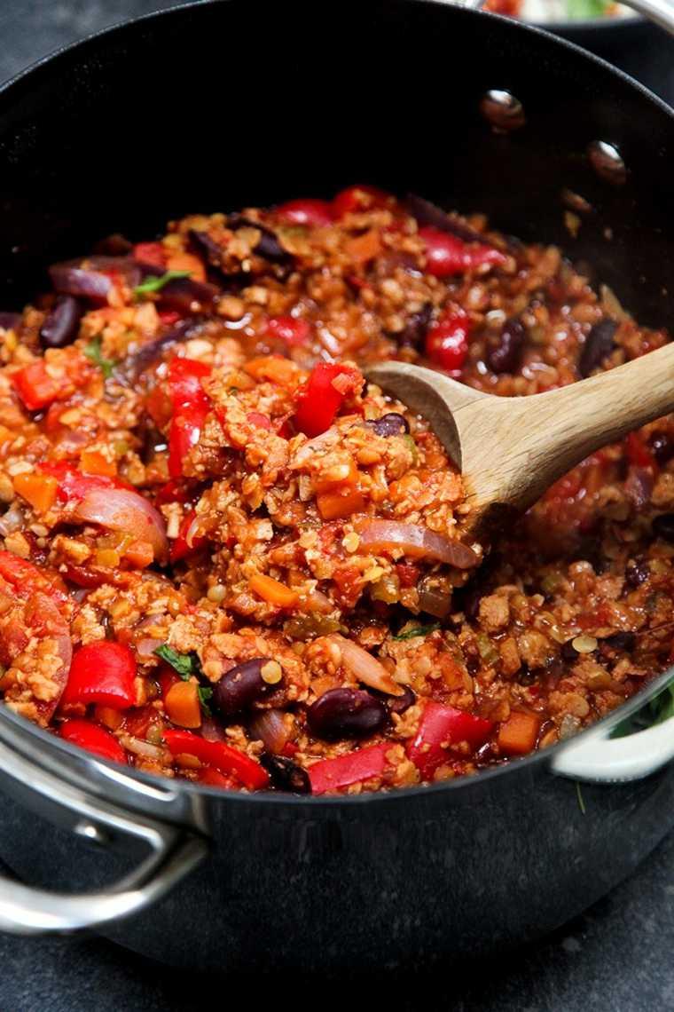 original receta vegana de chili con carne