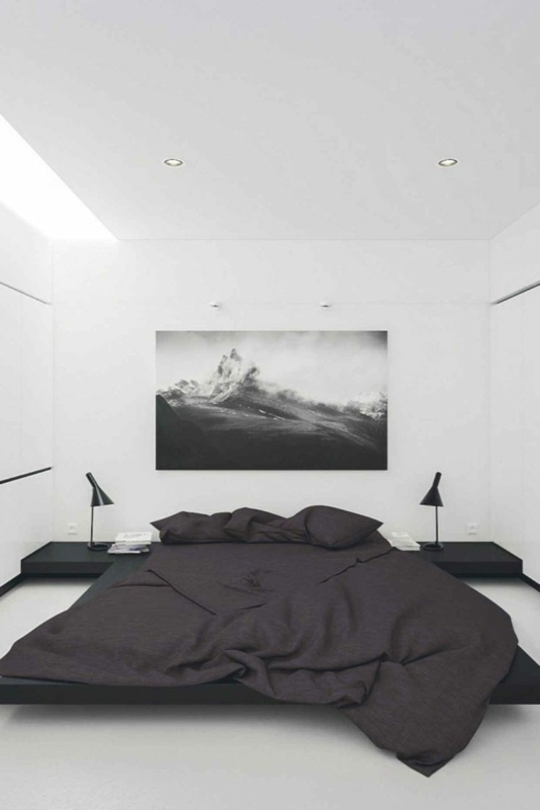 habitación minimalista en blanco y negro
