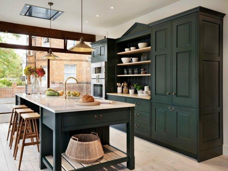 bonito diseño de cocina verde