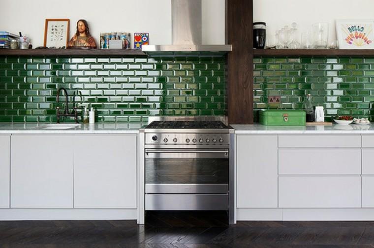 salpicadero de cocina verde