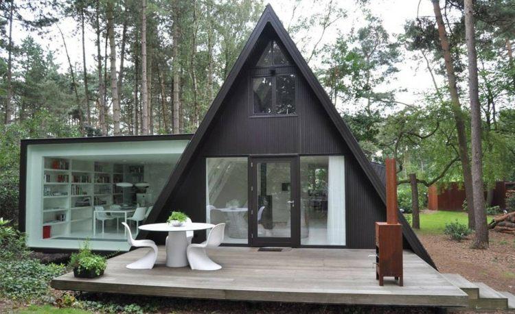 cabaña techado triangular moderno