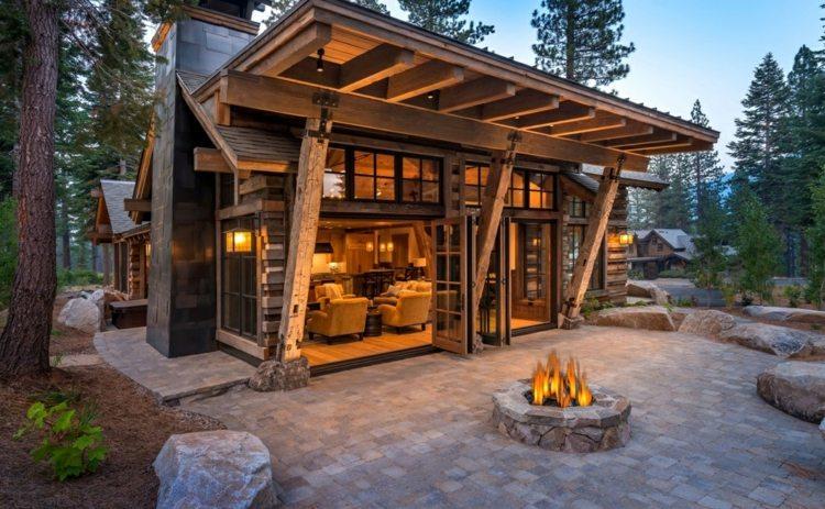 cabañas de madera idea pozo fuego