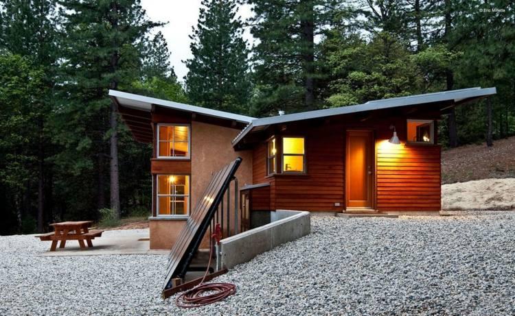 cabañas de madera paneles solares