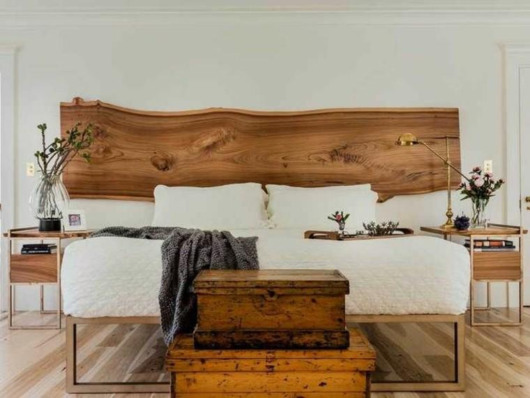 cabecero de madera natural