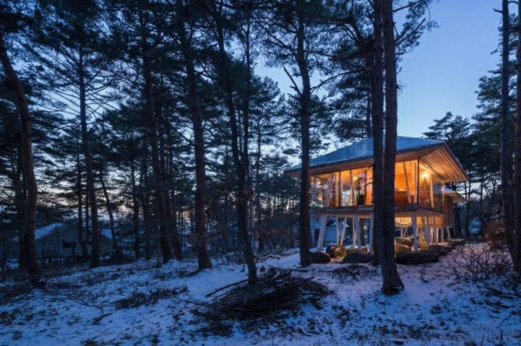 casa de madera diseño base suelos