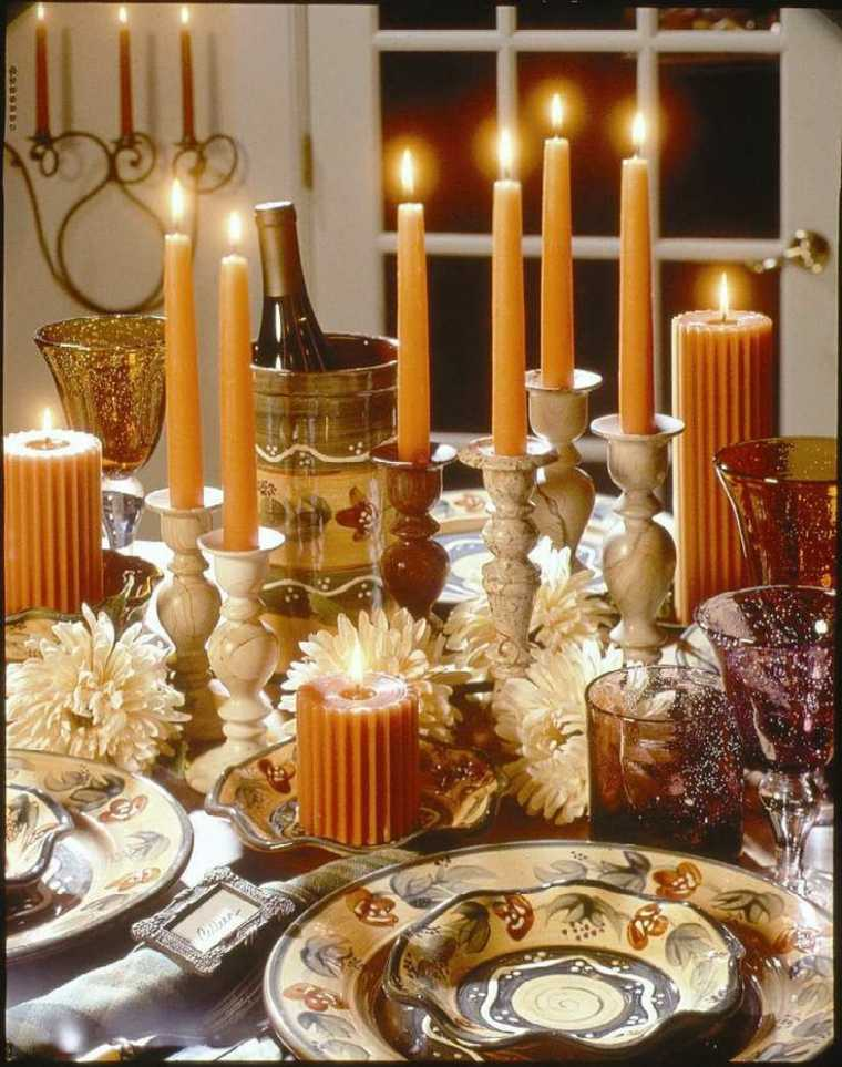 decoración de mesa con velas