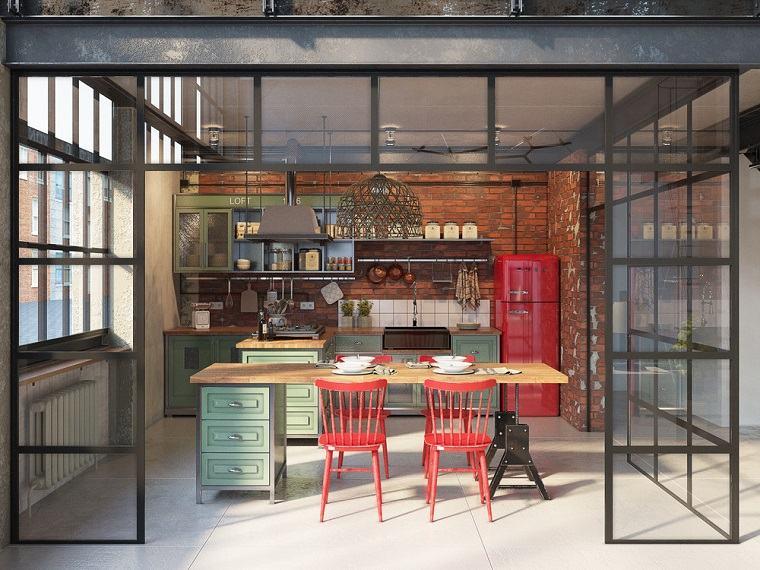 estanterías abiertas de cocina