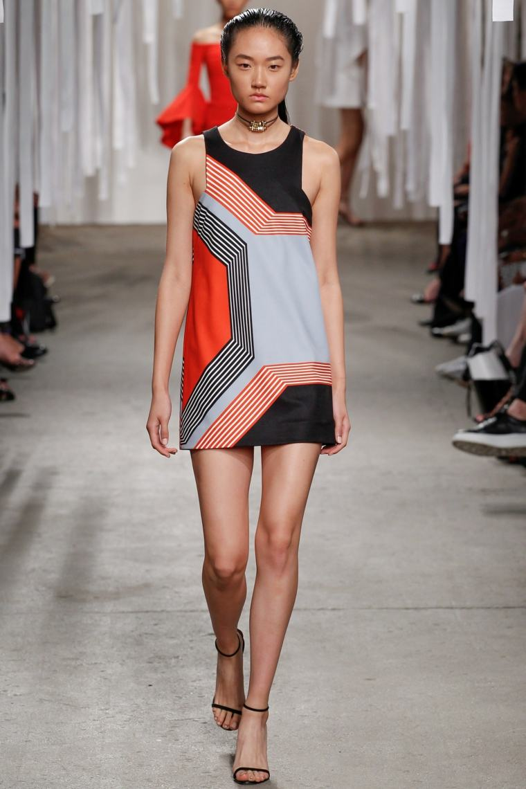diseño de moda-estilo-geometrico-vestido-corto
