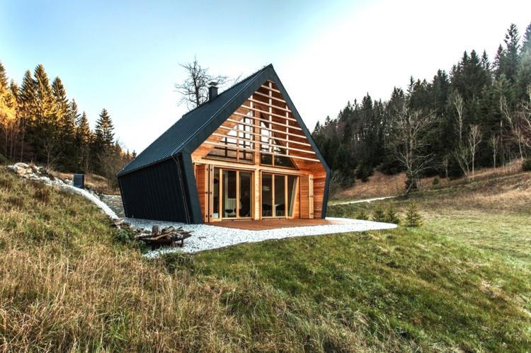 espacio natural rodeando cabaña