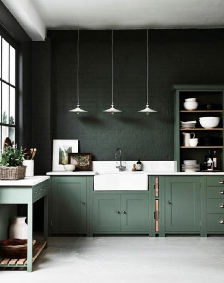 estupenda cocina de color verde
