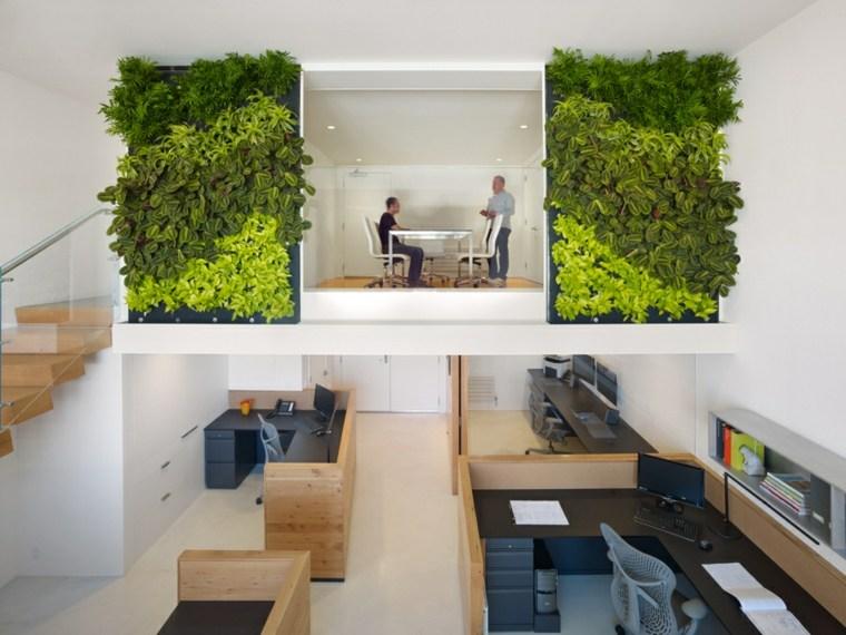 Jardines verticales de interior - decorar oficinas con naturaleza -