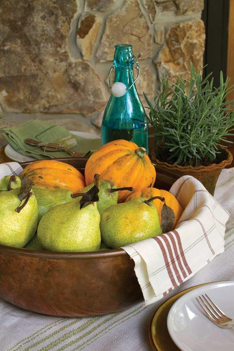 decoración de mesa con frutas