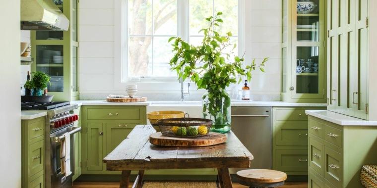 estupenda cocina color verde pistacho