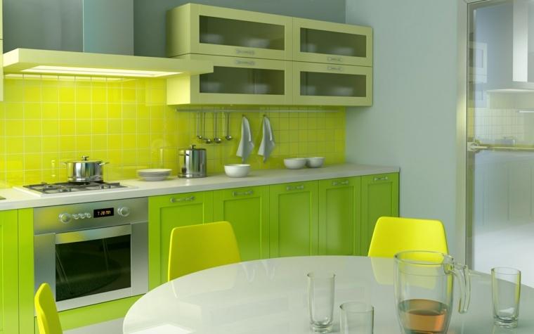 diseño de cocina color verde pistacho