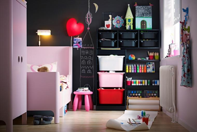 habitaciones-para-ninos-consejos-organizacion-pared-color-rosa