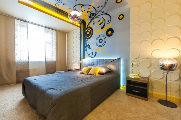 ideas para decorar paredes-ideas-dormitorio-moderno