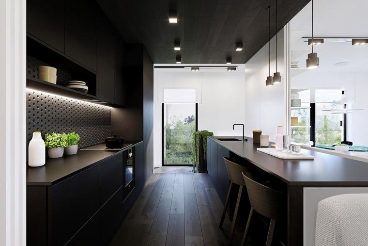 iluminacion interior cocina-techo-negro-ideas