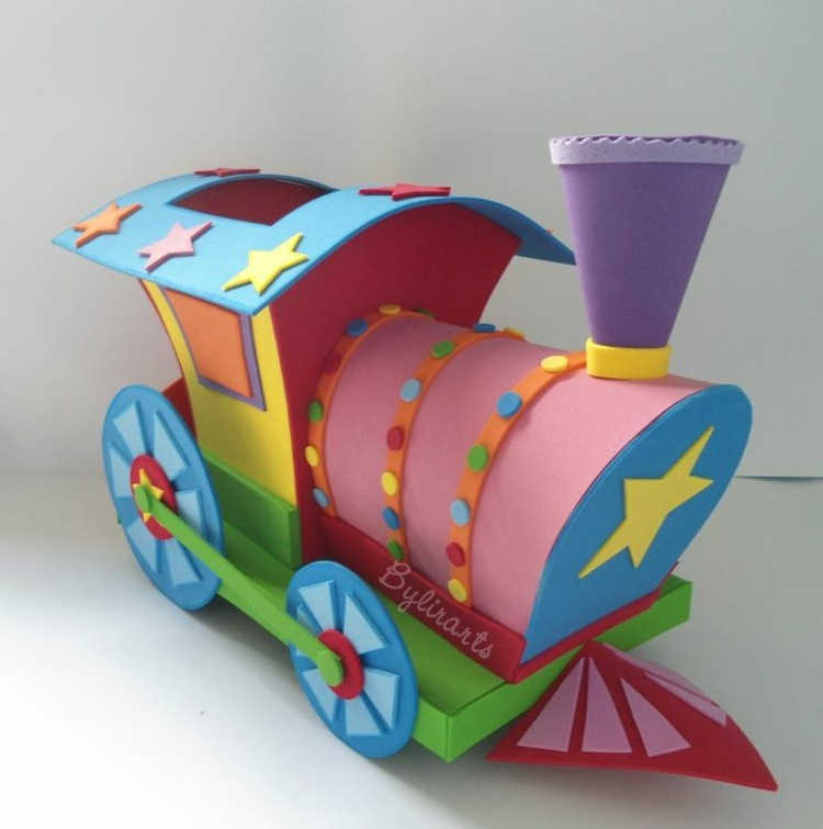 locomotora colorida goma eva
