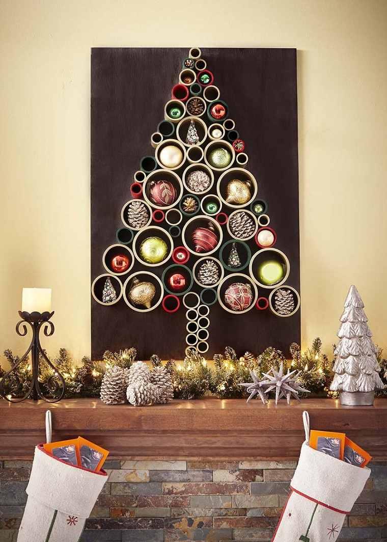 manualidades-de navidad-arbol-decorativo-pared-ideas-originales