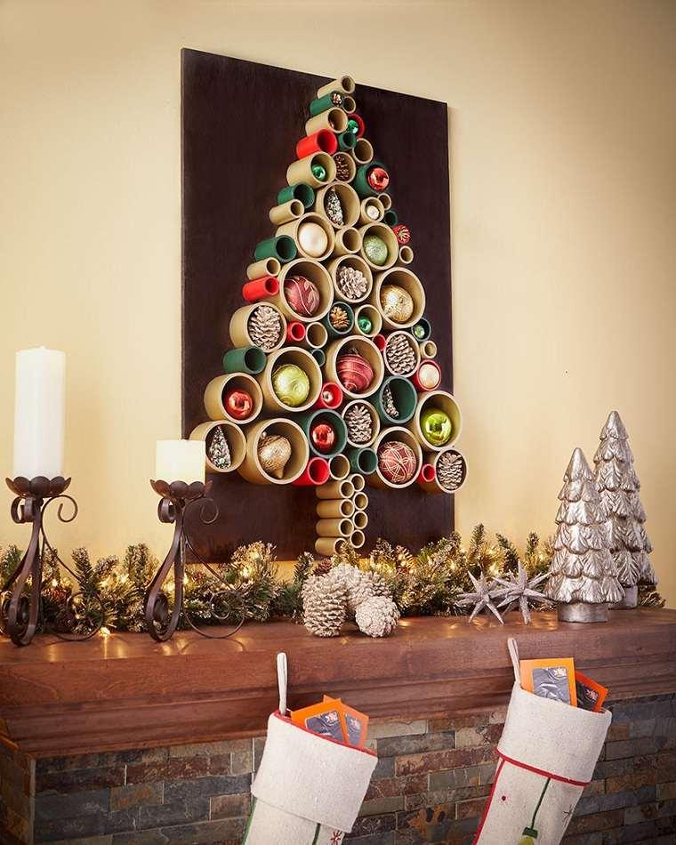 manualidades-de navidad-arbol-decorativo-pared-ideas