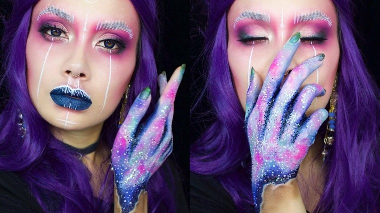 maquillaje Halloween mujer-estilo-sirena-espacio