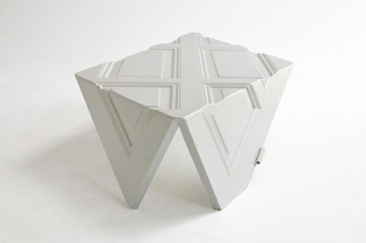 mesa blanca inspirada origami