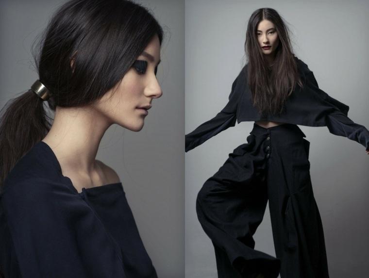 moda vestidos anchos negros pantalones camisa