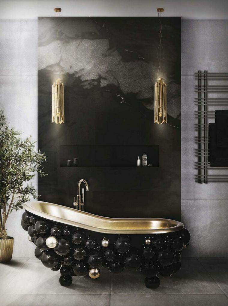 muebles de baño modernos banera-color-negro-detalles